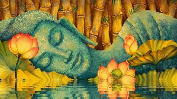 Buddhist Painting - RELAXING BUDDHA on water lily pond Buddhism