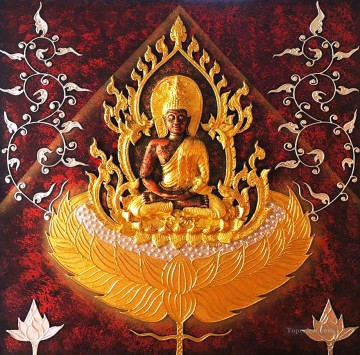 Silver Painting - Thailand Buddha in gold and silver powder Buddhism