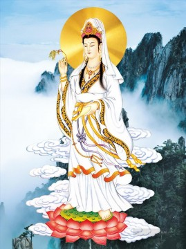 The statue of the Bodhisattva goddess of Mercy Buddhism Oil Paintings