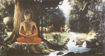 Buddhist Painting - bodhisatta spent six years practising austerities for the realisation of truth and the attainment of enlightenment Buddhism