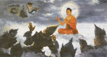buddha expounding a doctrine to baka brahma in the higher heaven Buddhism Oil Paintings