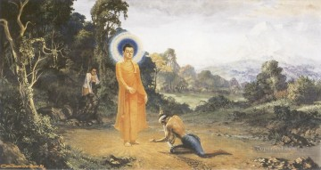 buddha overcoming a cruel man angulimala who cut off the right index finger of travellers Buddhism Oil Paintings
