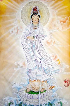 Buddhist Painting - godness of mercy in clouds Buddhism