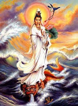 Buddhist Painting - godness of mercy on sea Buddhism