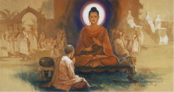 maha pajapati gotami requesting for permission from the buddha to establish the order of nuns Buddhism Oil Paintings