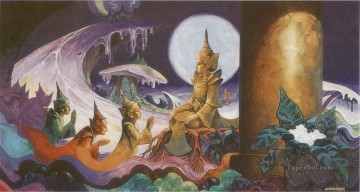 Buddhist Painting - the devas imploring the bodhisatta a santussita deva in tusita heaven to be reborn on earth Buddhism
