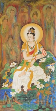 Golden Lotus Handpainted Kwan Yin Bodhisattva Buddhism Oil Paintings