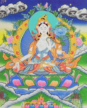 Buddhist Painting - White Tara Thangka Buddhism