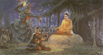 buddha Painting - buddha reestioned a haughty hermit saccaka after being defeated Buddhism