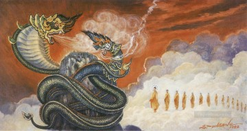 dragon Painting - buddha subdued the celestial dragon nandopananda through his desciple maha moggalana Buddhism