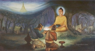 tapussa and bhallika received eight strands of hair from the buddha as sacred objects of veneration Buddhism Oil Paintings