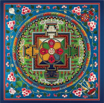 Buddhist Painting - Blue Golden Mandala Buddhism