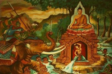 Calling the Earth to witness Buddha and Mara Buddhism Oil Paintings