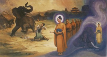 buddha subduing the fierce drunkened elephant nalagiri Buddhism Oil Paintings