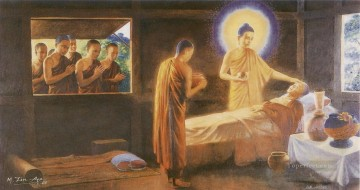 Buddhist Painting - buddha taking care of a sick monk as a fraternal duty and model example for his monks to emulate Buddhism