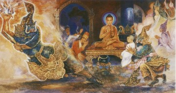 Triple Art - buddha tamed a celestial ogre alavaka who took refuge in the triple gem of buddhism Buddhism