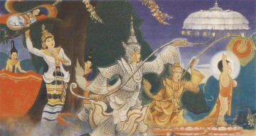 Buddhist Painting - the marvellous birth of infant siddhatta as a bodhisattha prince Buddhism