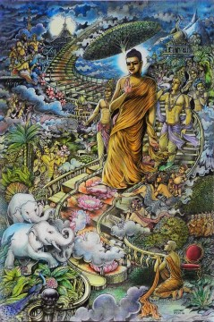 Buddha in heaven Buddhism Oil Paintings