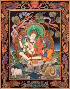 Buddhist Painting - Superfine Shiva Parvati Tibetan Buddhist Thangka Painting Without Brocade Buddhism
