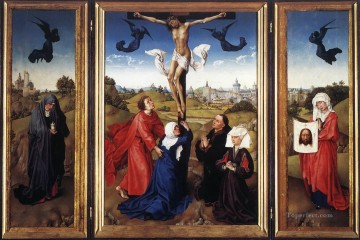 Crucifixion Triptych religious Rogier van der Weyden religious Christian Oil Paintings