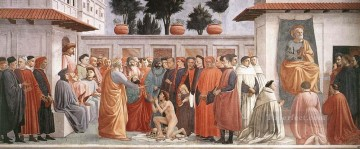 christ canvas - Raising of the Son of Theophilus and St Peter Enthroned Christian Quattrocento Masaccio