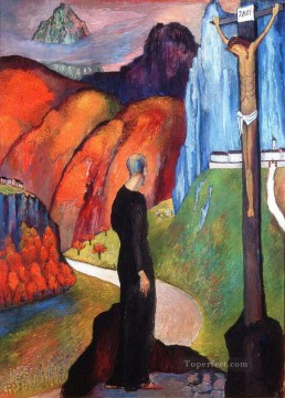 Crucifixion mounts Marianne von Werefkin Christian Catholic Oil Paintings