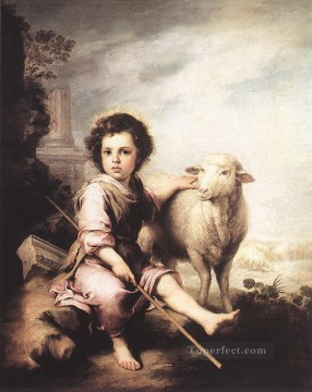 Christ the Good Shepherd Spanish Bartolome Esteban Murillo Oil Paintings