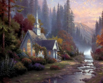 thomas kinkade Painting - Forest Chapel Thomas Kinkade church
