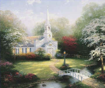 thomas kinkade Painting - Hometown Chapel Thomas Kinkade church