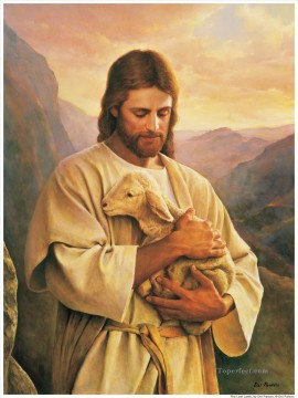 jesus Painting - Jesus Carrying A Lost Lamb religious Christian