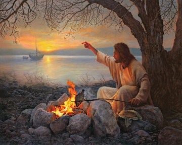 jesus christ Painting - Jesus Christ roasting fish