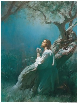 religious Painting - Jesus Praying In Gethsemane religious Christian