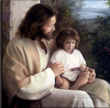religious canvas - Jesus and kid religious Christian