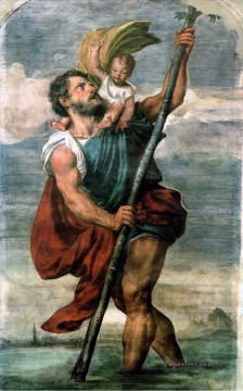Titian Oil Painting - Saint Christopher Tiziano Titian