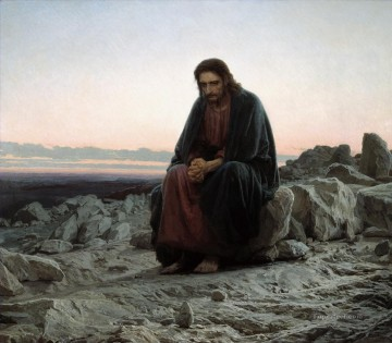 religious canvas - jesus a visionary leader in the wilderness ivan kramskoy religious Christian