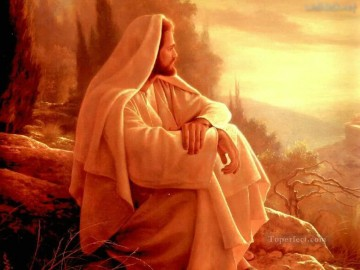 jesus watching over jesus religious Christian Oil Paintings