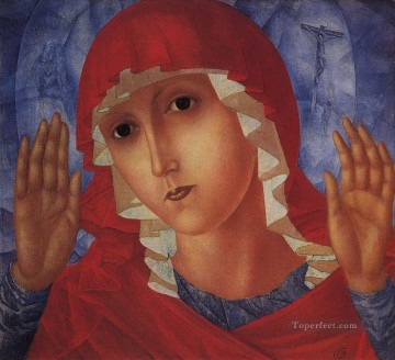 virgin of tenderness evil hearts 1915 Kuzma Petrov Vodkin Christian Catholic Oil Paintings