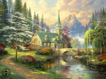 thomas kinkade Painting - Dogwood Chapel Thomas Kinkade church