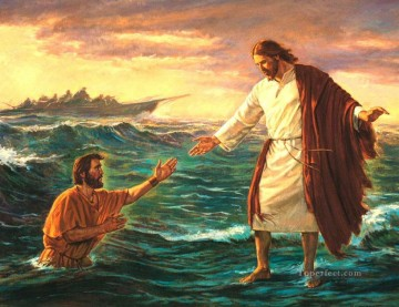 jesus christ Painting - Jesus on sea religious Christian