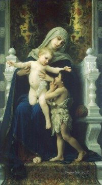La Vierge LEnfant Jesus et Saint Jean Baptiste2 William Adolphe Bouguereau religious Christian Oil Paintings