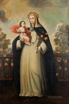 rose roses Painting - Saint Rose of Lima with Child Jesus religious Christian