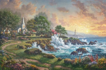 Seaside Haven church Oil Paintings