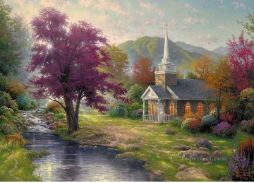 thomas kinkade Painting - Streams of Living Water Thomas Kinkade church