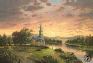 thomas kinkade Painting - Sunrise Chapel Thomas Kinkade church