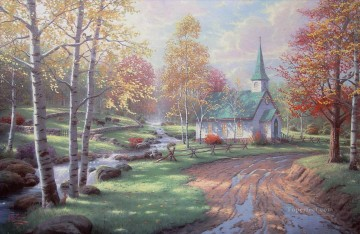 thomas kinkade Painting - The Aspen Chapel Thomas Kinkade church