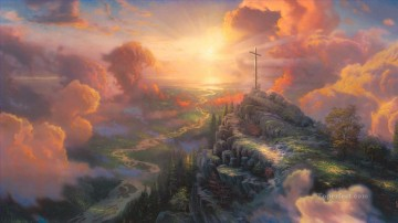 thomas kinkade Painting - The Cross Thomas Kinkade church