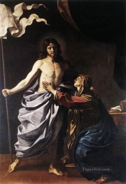 baptism of christ Painting - The Resurrected Christ Appears to the Virgin Guercino