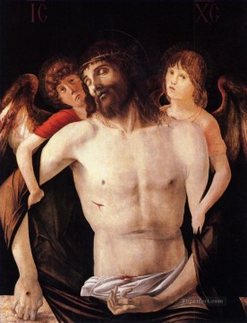 The dead christ supported by two angels religious Giovanni Bellini Oil Paintings