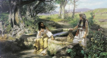 christ and the samaritan woman Oil Paintings