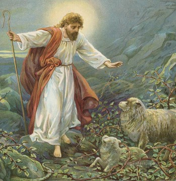jesus christ the tender shepherd ambrose dudley Oil Paintings